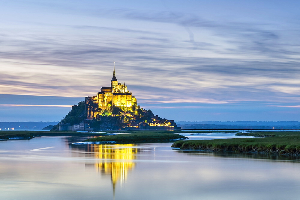 Le Mont-Saint-Miichel at sunset, Manche, Normandy, France, Europe - 1217-387