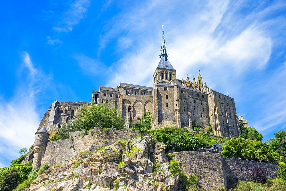 France, Normandy, Manche department, Mont-Saint-Miichel. Abbaye du Mont-Saint-Michel, UNESCO World Heritage Site.
