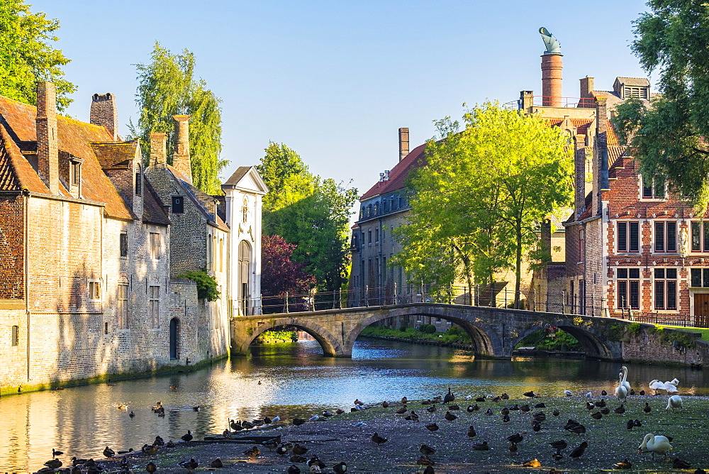 Wijngaard Bridge and the main entrance gate of the Begijnhof (Beguinage) of Bruges, UNESCO World Heritage Site, Bruges (Brugge), West Flanders (Vlaanderen), Belgium, Europe