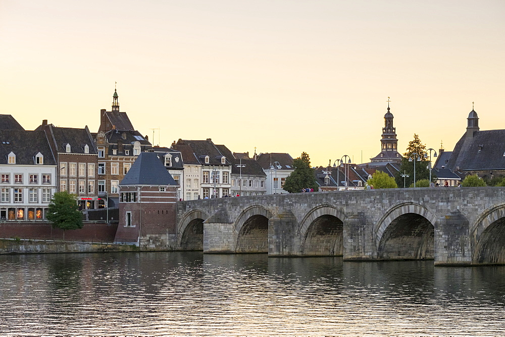 Netherlands, Limburg, Maastricht. Buildings in the old town along the Meuse (Maas) River.