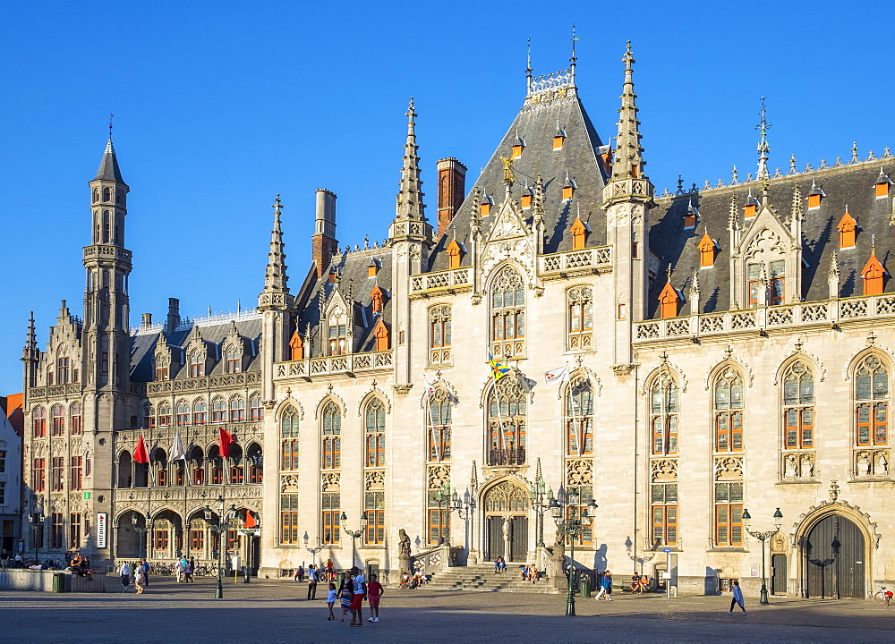 Provinciaal Hof (Province Court) on Markt square, Bruges (Brugge), West Flanders (Vlaanderen), Belgium, Europe