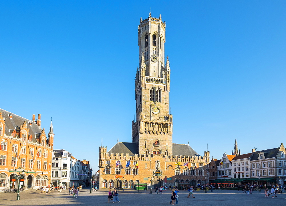 The 13th century Belfort van Brugge belfry tower on the Markt square, UNESCO World Heritage Site, Bruges (Brugge), West Flanders (Vlaanderen), Belgium, Europe