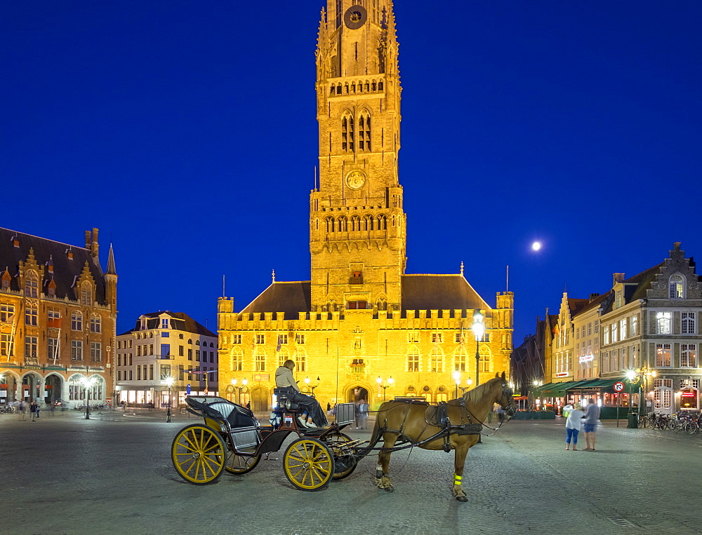The 13th century Belfort van Brugge belfry tower on the Markt square, at dusk, Bruges (Brugge), UNESCO World Heritage Site, West Flanders (Vlaanderen), Belgium, Europe