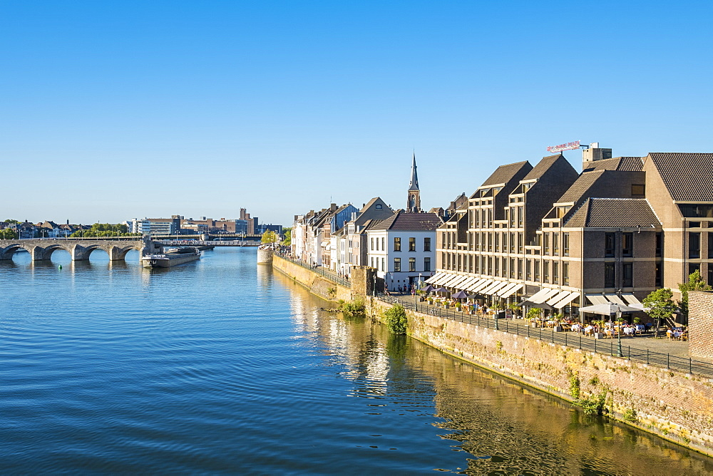Netherlands, Limburg, Maastricht. Building along the Meuse (Maas) River in the Wyck-Ceramique quarter.