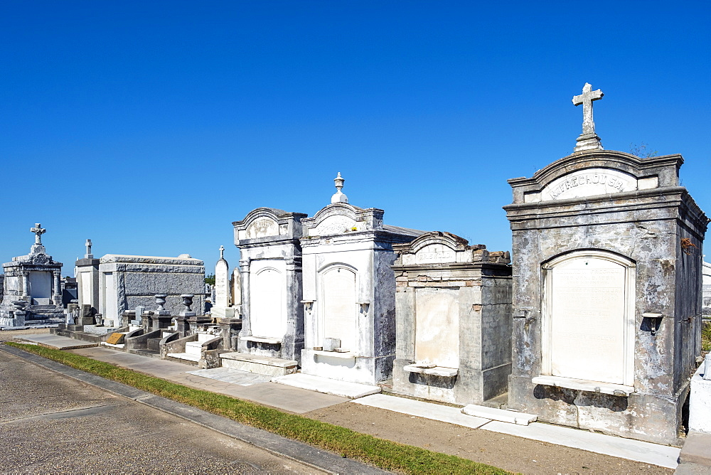Historic above-ground graves in Greenwood Cemetery, New Orleans, Louisiana, United States of America, North America