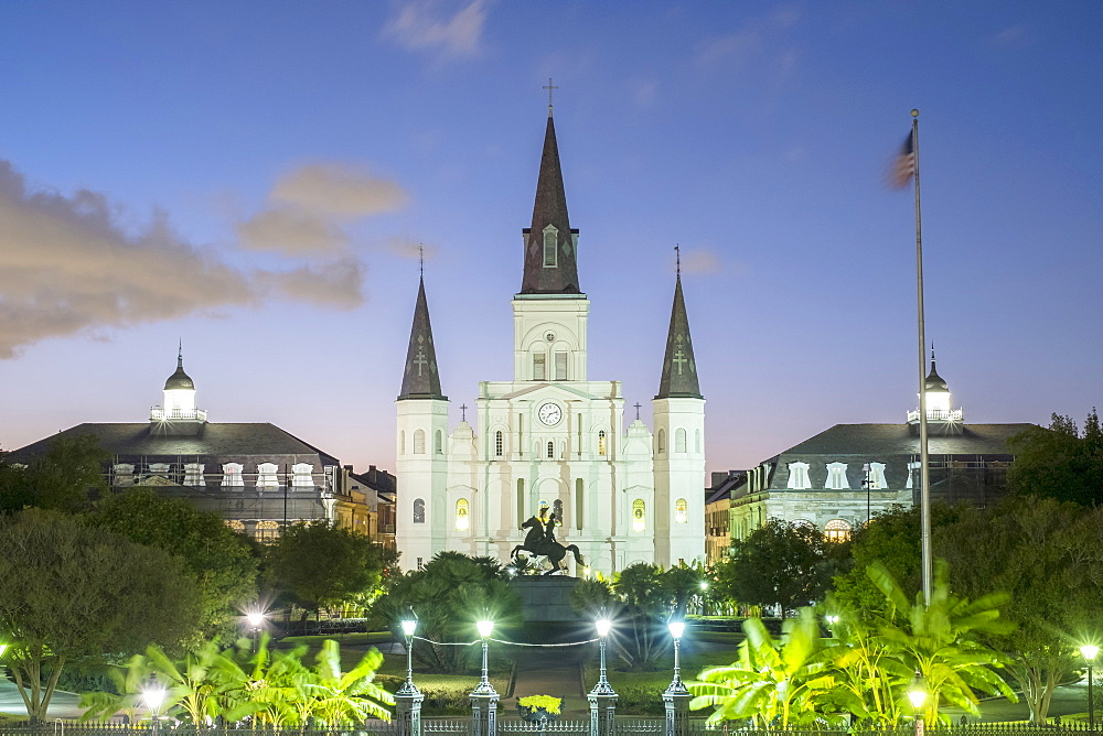 Jackson Square and Saint Louis Cathedral at dusk, French Quarter, New Orleans, Louisiana, United States of America, North America