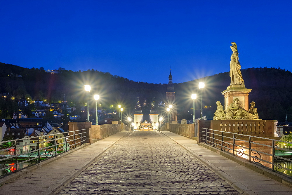 Alte Brucke (Old Bridge) in the Altstadt (Old Town) at dusk, Heidelberg, Baden-Wurttemberg, Germany, Europe