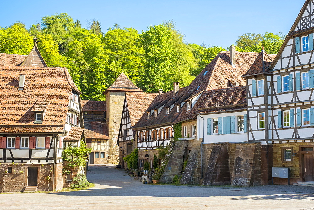 Historic half-timber buildings in the monastery village, Maulbronn, Baden-Wurttemberg, Germany, Europe