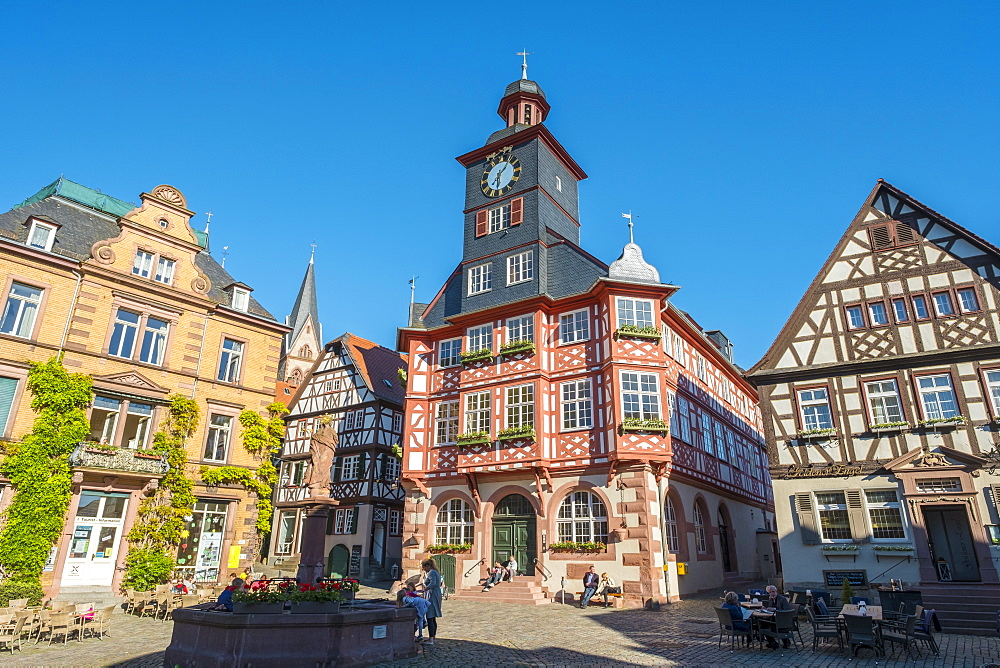 Germany, Hessen, Heppenheim. Historic buildings on Marktplatz market square.