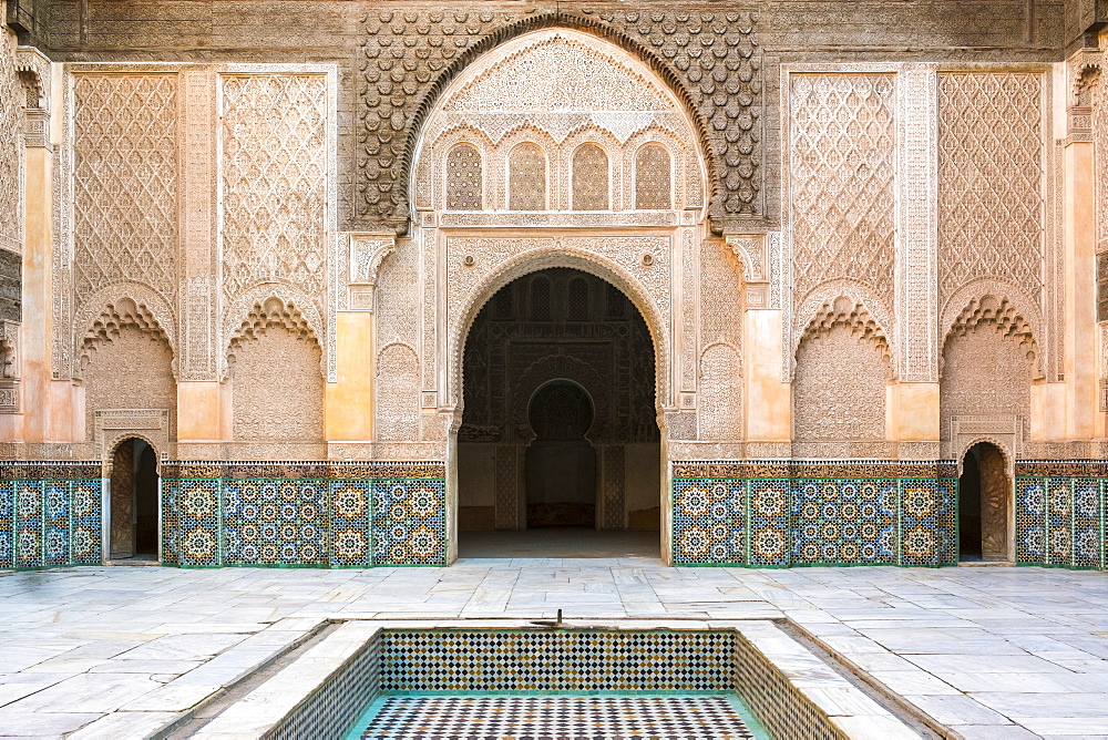 Interior courtyard of Ben Youssef Madrasa, a 16th century Islamic college, UNESCO World Heritage Site, Marrakesh, Morocco, North Africa, Africa