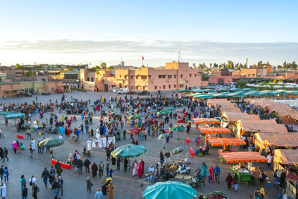 Food stalls on Jamaa El-Fna square, Marrakesh, Morocco, North Africa, Africa
