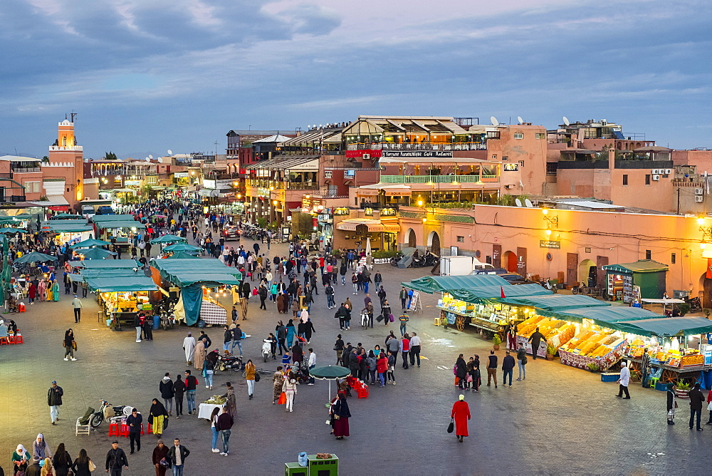 Jamaa El-Fna square at dusk, Marrakesh, Morocco, North Africa, Africa