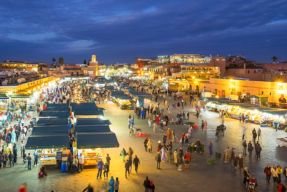 Jamaa El-Fna square at dusk, Marrakesh, Morocco, North Africa, Africa - 1217-493