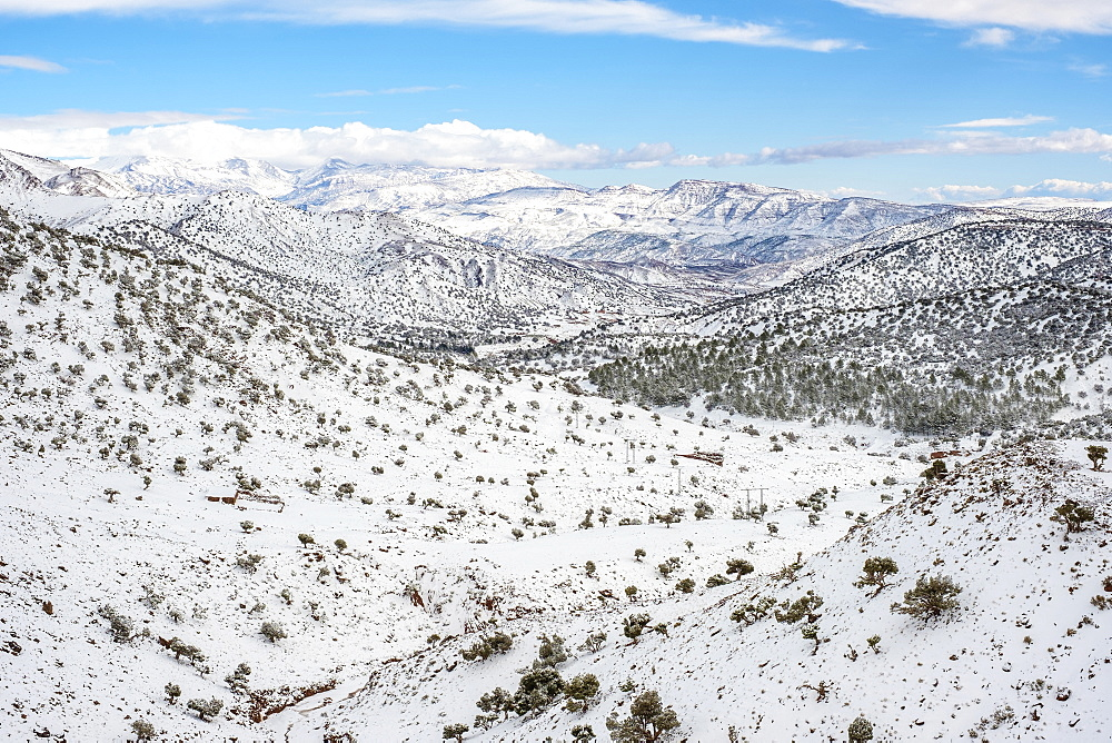 Atlas Mountains landscape during winter snow, Ouarzazate Province, Souss-Massa, Morocco, North Africa, Africa
