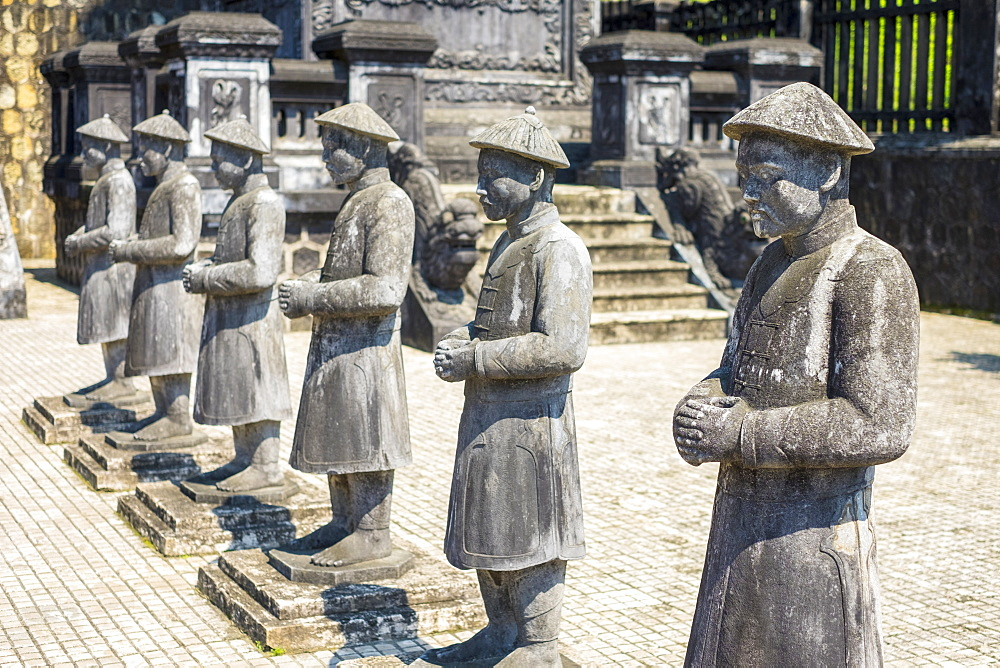 Stone statues at Tomb of Khai Dinh (Lang Khai Dinh), Huong Thuy District, Thua Thien-Hue Province, Vietnam, Indochina, Southeast Asia, Asia