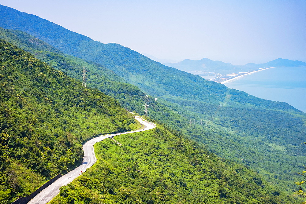 Winding road through Hai Van Pass, Phu Loc District, Thua Thien-Hue Province, Vietnam, Indochina, Southeast Asia, Asia