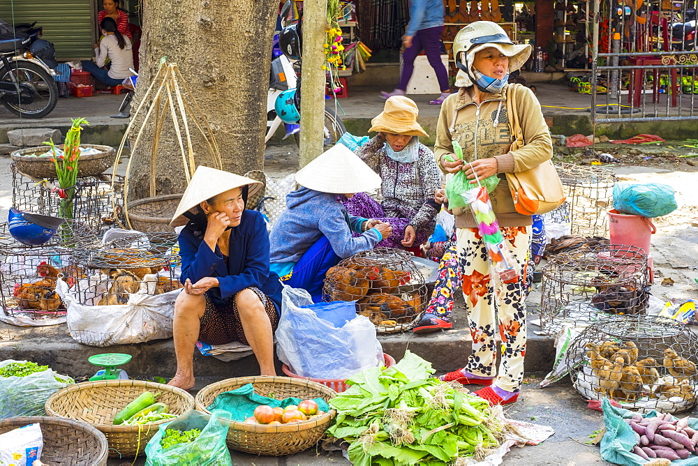 Women selling vegetables and live chickens at Hoi An market, Quang Nam Province, Vietnam, Indochina, Southeast Asia, Asia