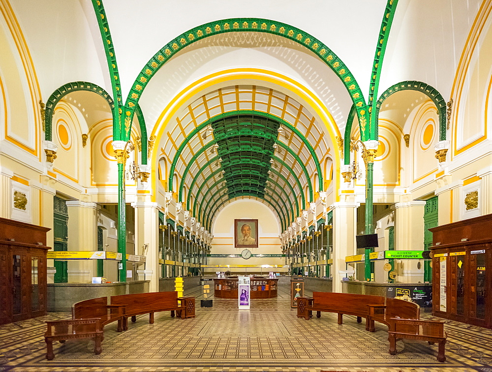 Saigon Central Post Office interior at night, Ho Chi Minh City (Saigon), Vietnam, Indochina, Southeast Asia, Asia