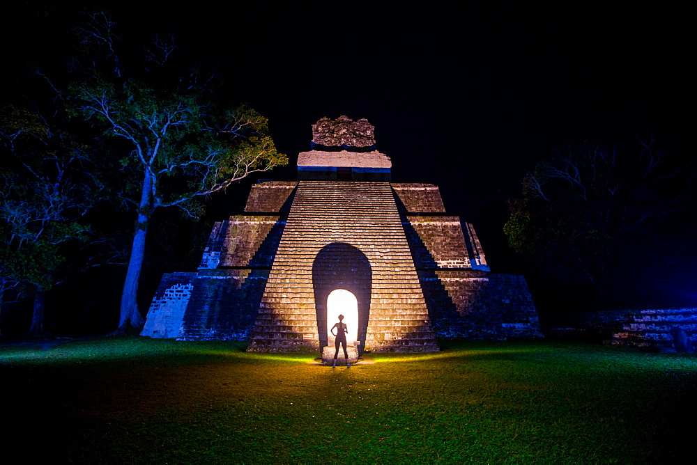 Night portrait of Pyramid at Tikal, UNESCO World Heritage Site, Guatemala, Central America