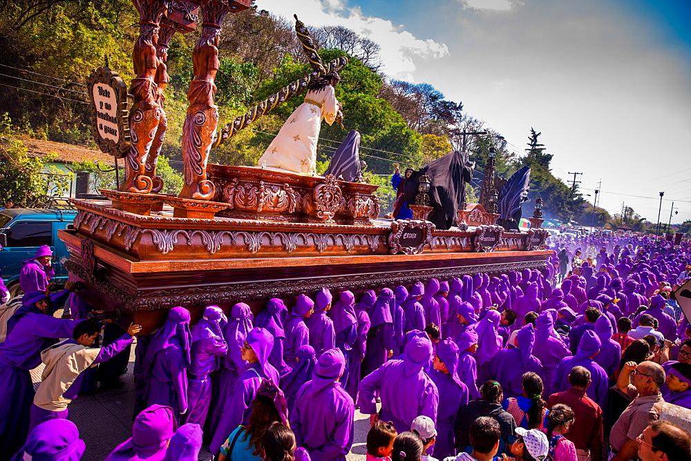 Holy Week Carpetas Parade, Antigua, Guatemala, Central America