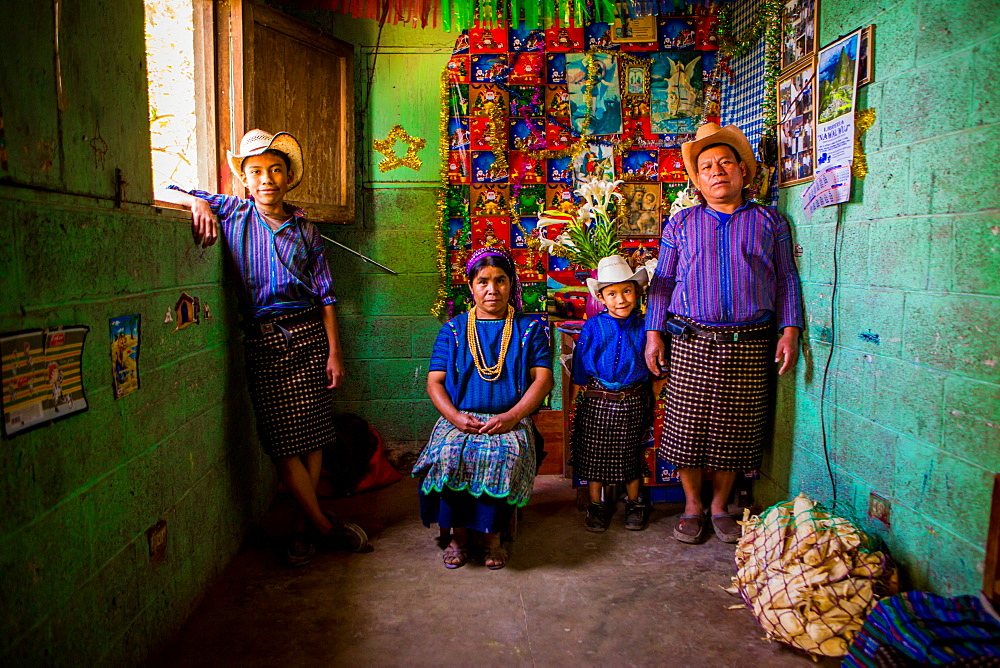 Mayan family portrait, Lake Atitlan, Guatemala, Central America