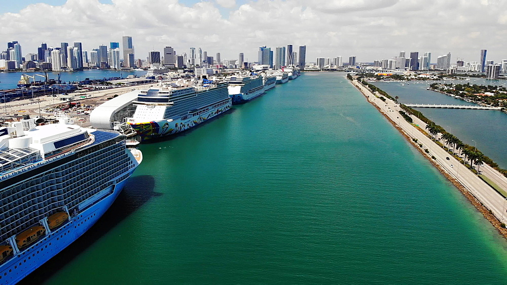 Aerial view of Port Miami with cruise ships docked during COVID-19 Pandemic, Coral Princess with sick passengers just allowed to dock, Miami, Florida, United States of America, North America - 1218-1282