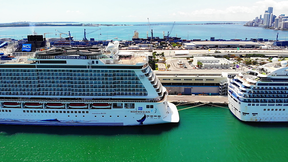 Aerial view of Port Miami with cruise ships docked during COVID-19 Pandemic, Coral Princess with sick passengers just allowed to dock, Miami, Florida, United States of America, North America