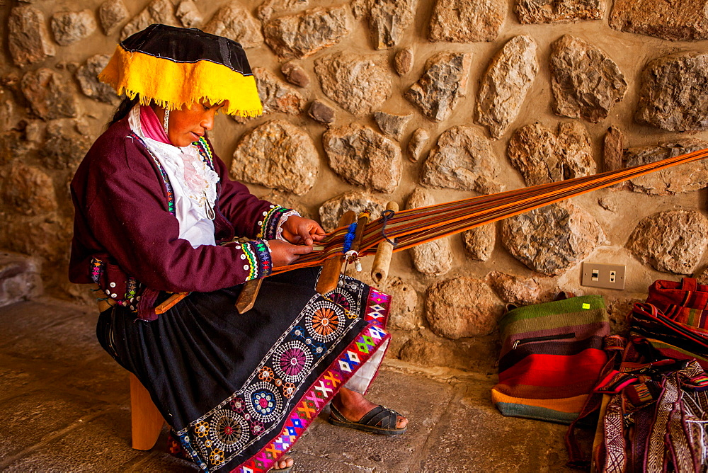 Traditional Peruvian woman weaver, Cusco, Peru, South America