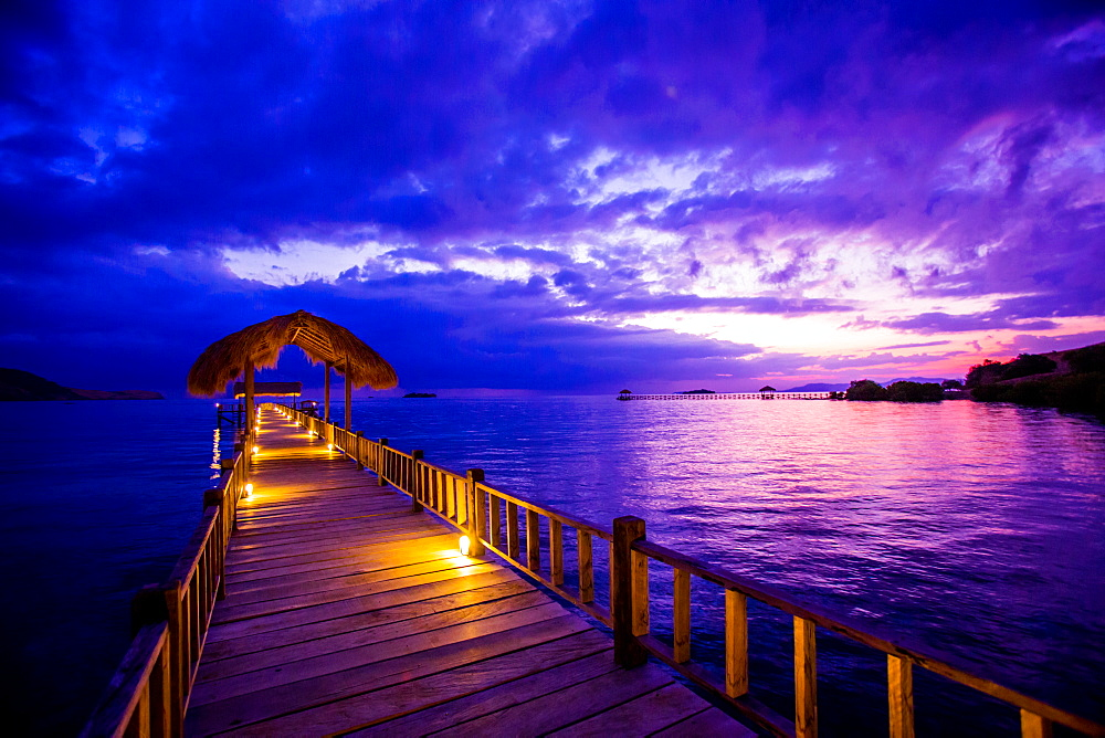 Sunset over the Pier, Hotel Seraya, Flores Island, Indonesia, Southeast Asia, Asia