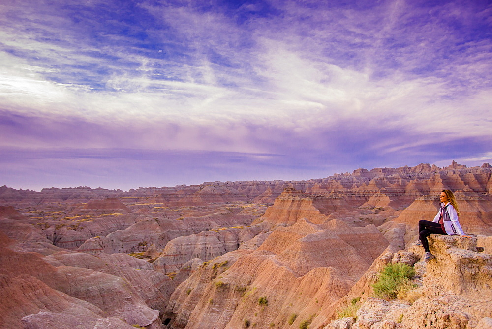 Laura Grier at sunrise at The Badlands, Black Hills, South Dakota, United States of America, North America