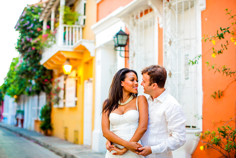 Couple posing, Old Walled-in City, Cartagena, Colombia, South America