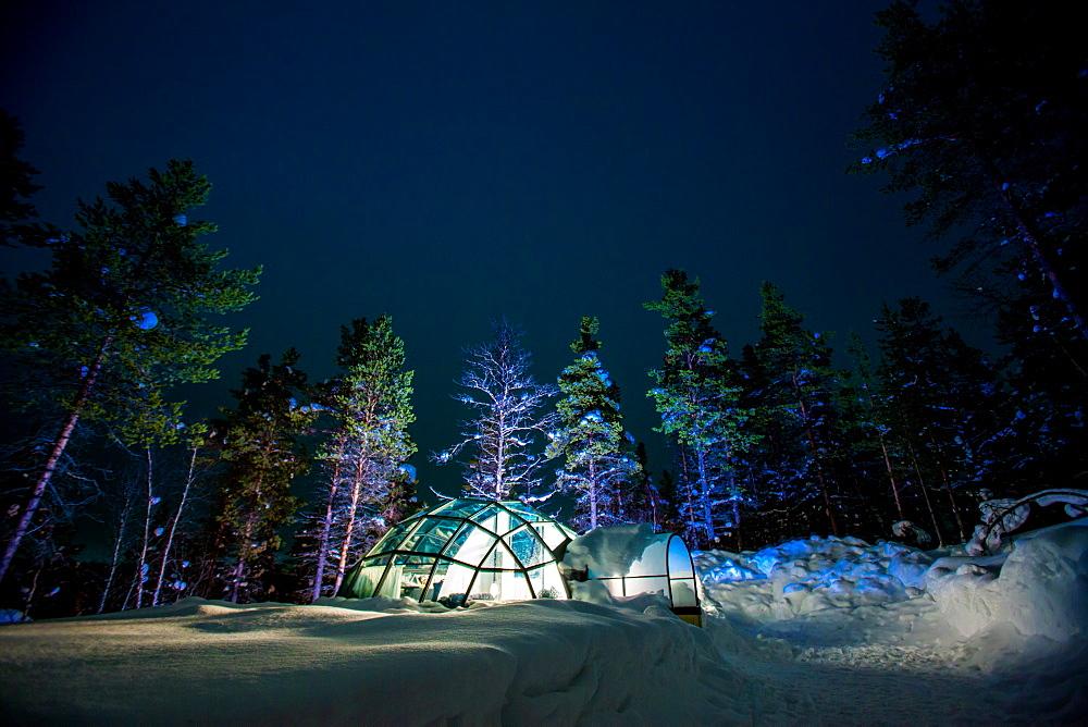 Kakslauttanen Igloo Village at night, Saariselka, Finland, Scandinavia, Europe