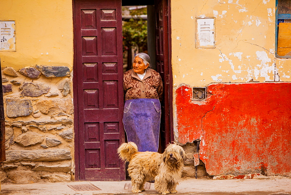 Woman and her dog, Ollantaytambo, Sacred Valley, Peru, South America