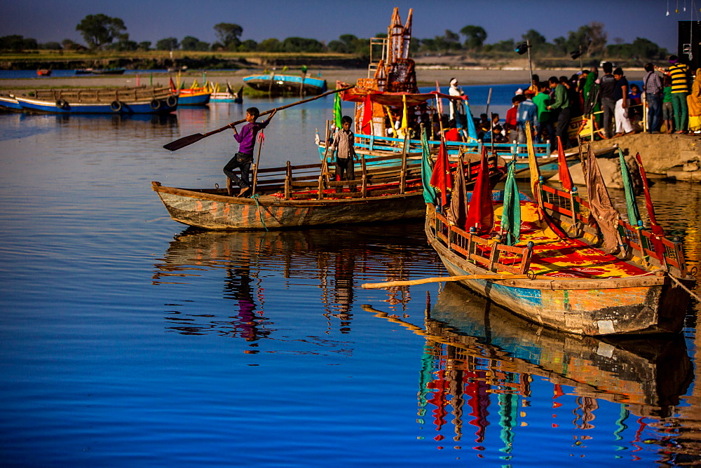 Colorful boats at the Holi Festival, Vrindavan, Uttar Pradesh, India, Asia