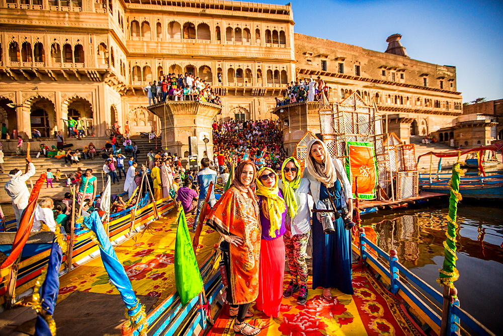 Travelers participating in the Flower Holi Festival, Vrindavan, Uttar Pradesh, India, Asia