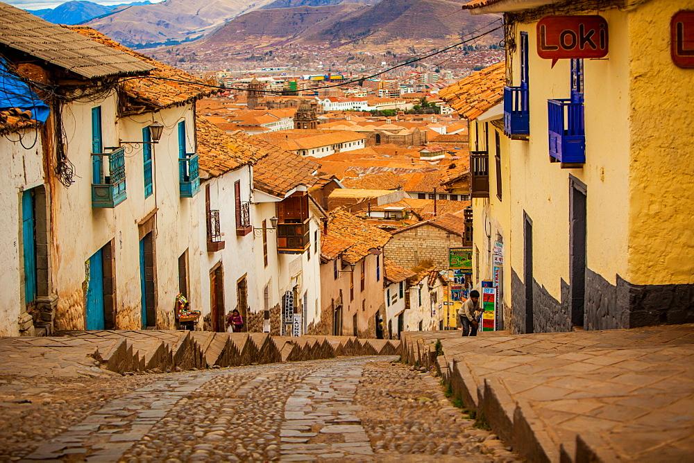 Cobblestone street scene, Cusco, Peru, South America
