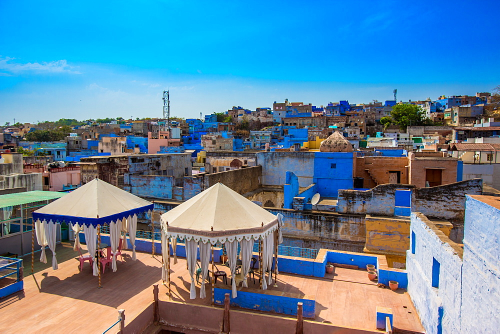 Rooftops in Jodhpur, the Blue City, Rajasthan, India, Asia