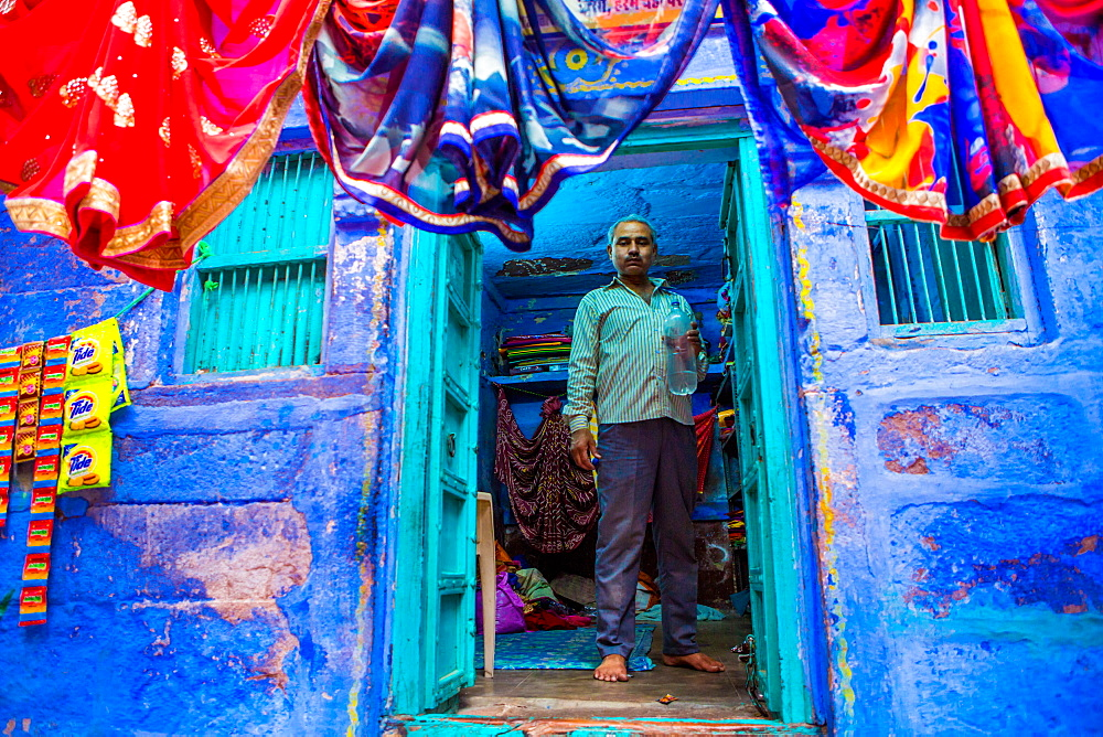 Street vendor selling saris in Jodhpur, the Blue City, Rajasthan, India, Asia