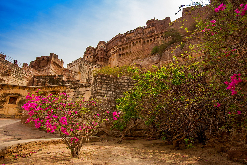 The inner wall of Mehrangarh Fort in Jodhpur, the Blue City, Rajasthan, India, Asia