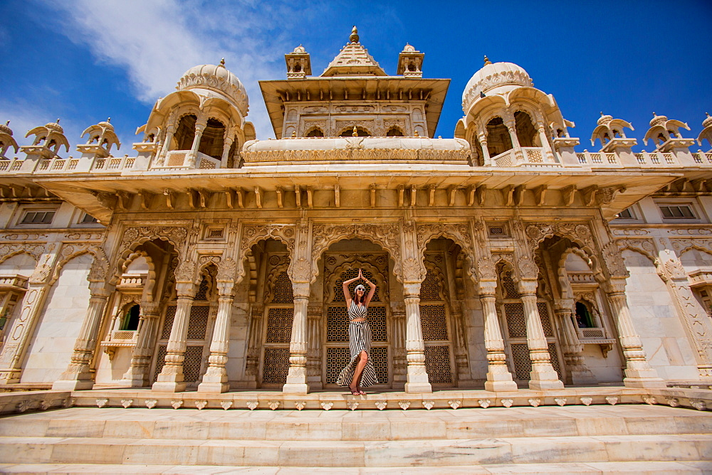 Woman standing in the main entrance to Jaswant Thada Tomb, Jodhpur, The Blue City, Rajasthan, India, Asia