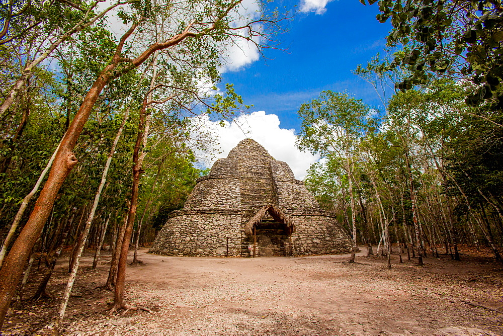 Pyramid in the Ancient Mayan ruins of Coba, outside of Tulum, Mexico, North America