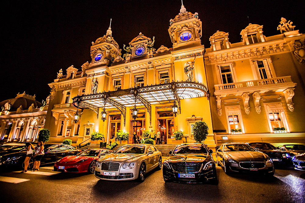 Casino at night, Monaco, Europe
