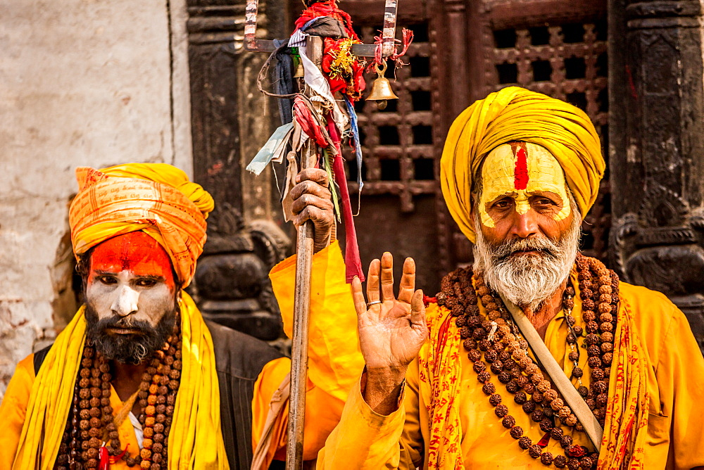 Holy men at Pashupati Temple