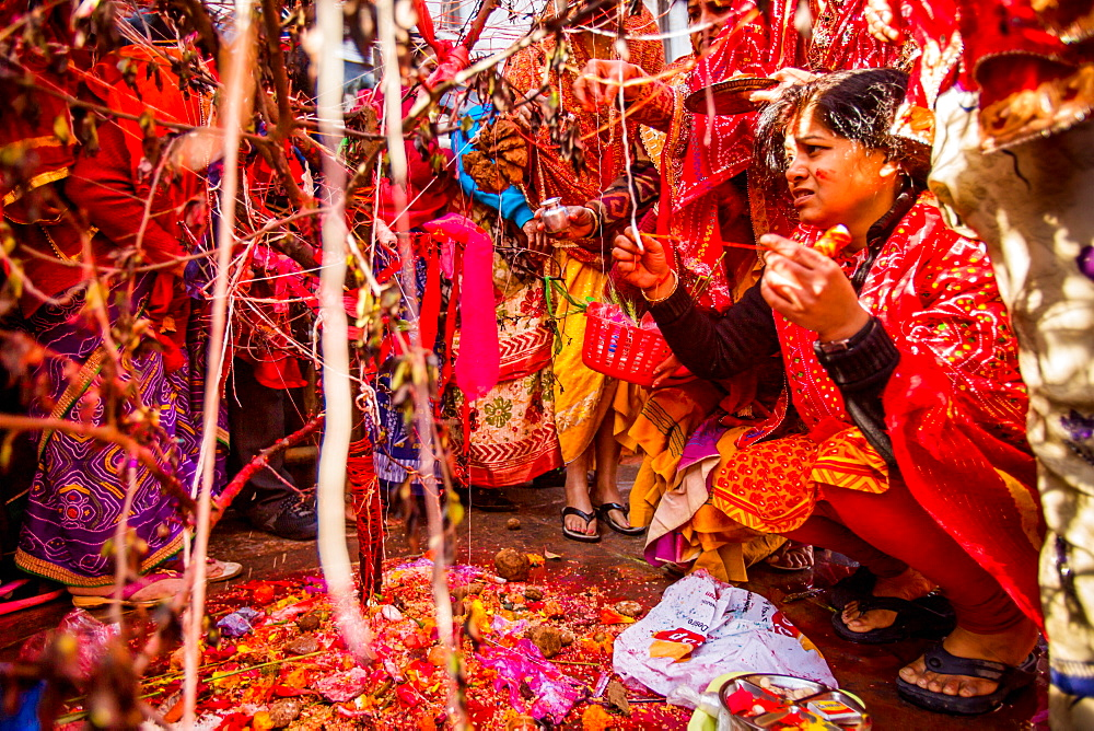 Woman praying at the Holi Festival, Durbar Square, Kathmandu, Nepal, Asia