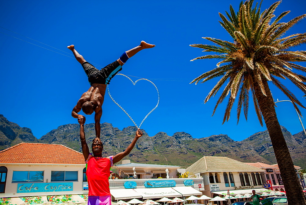 African acrobats, Camps Bay, South Africa, Africa