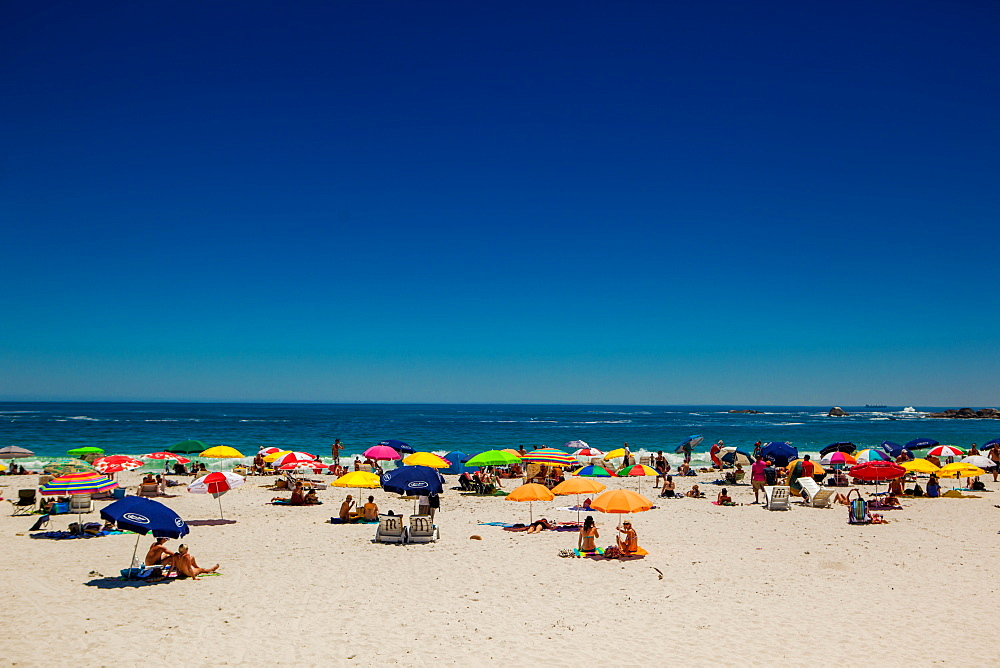 View of beachgoers, Camps Bay, Cape Town, South Africa, Africa