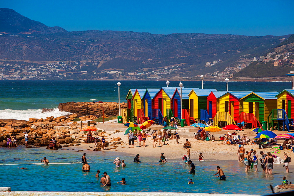 Colorful beach huts, Muizenberg Beach, Cape Town, South Africa, Africa