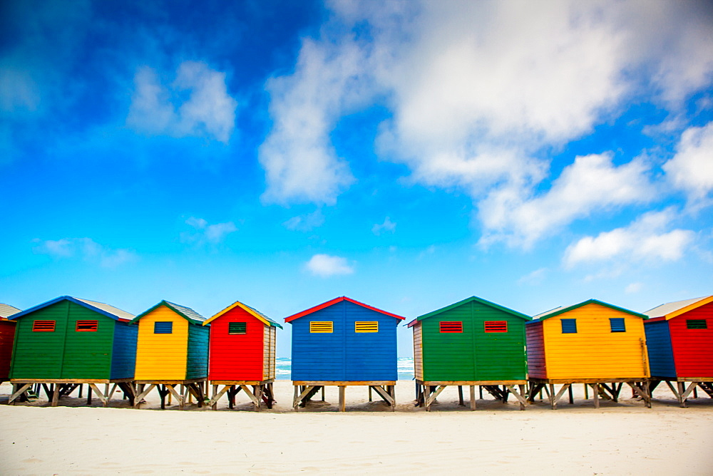Colorful beach shacks, Muizenberg Beach, Cape Town, South Africa, Africa - 1218-63