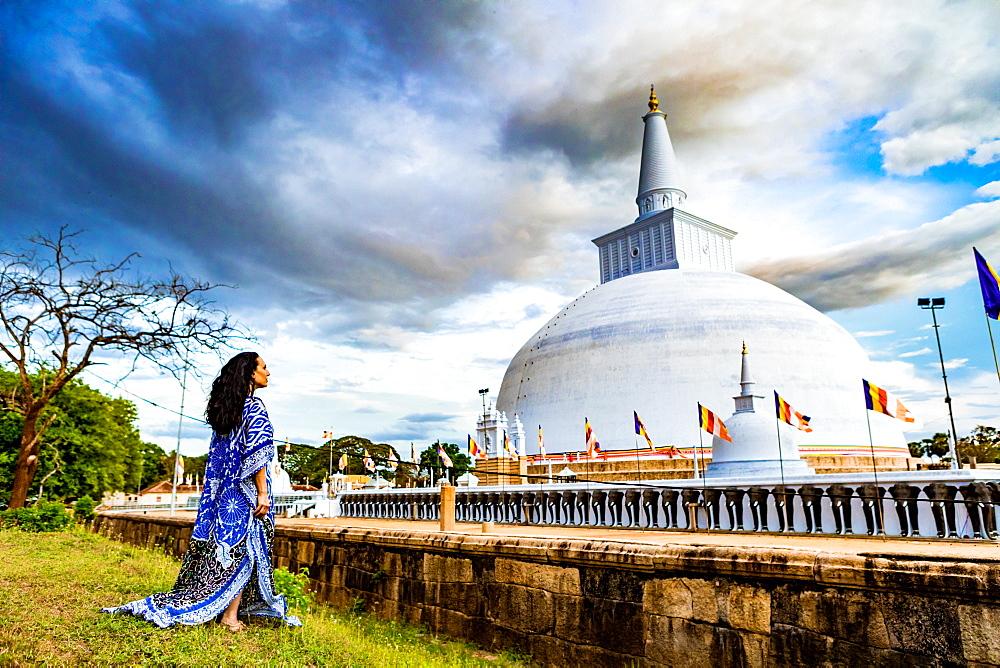 Model and Buddhist stupas in the ruins of the ancient kingdom of Sri Lanka, Anuradhapura, UNESCO World Heritage Site, Sri Lanka, Asia