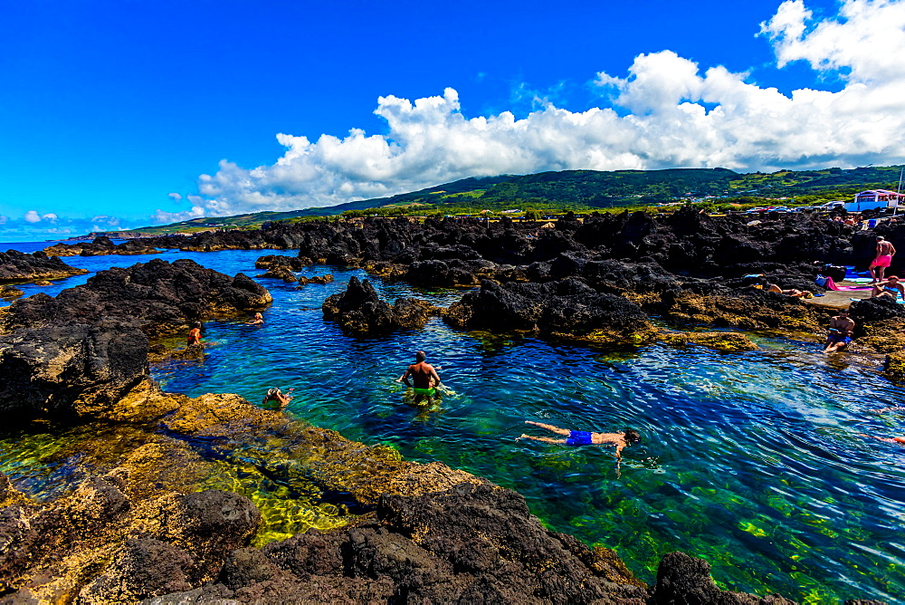 Views of natural volcanic pools called Biscoitos here on Terceira Island, Portugal.